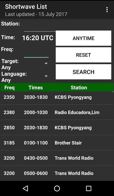 Shortwave List: Cap's shortwave schedule Android app now