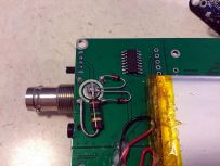 """""""Crossed 1N4148 diodes and a 1M carbon resistor at the BNC connector."""""""