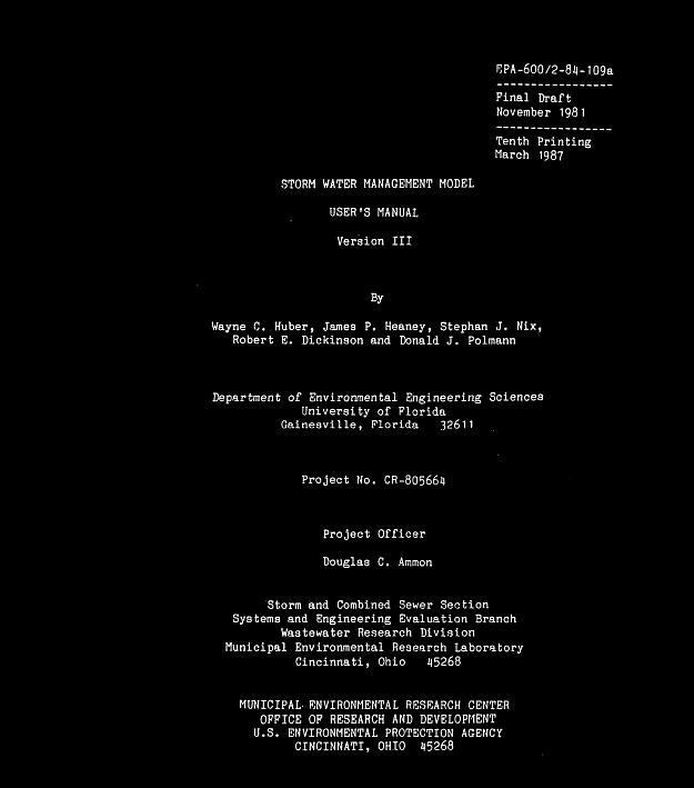 SWMM 3 Manual and PDF File
