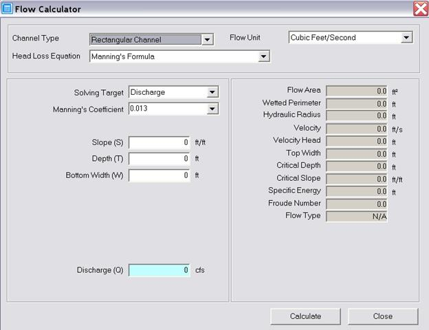 Flow Calculator (Simple in Innovyze H2OCalc) – Option for SWMM6