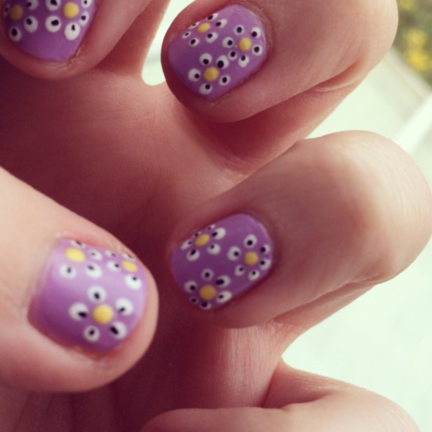 nail art fancy daisy nails