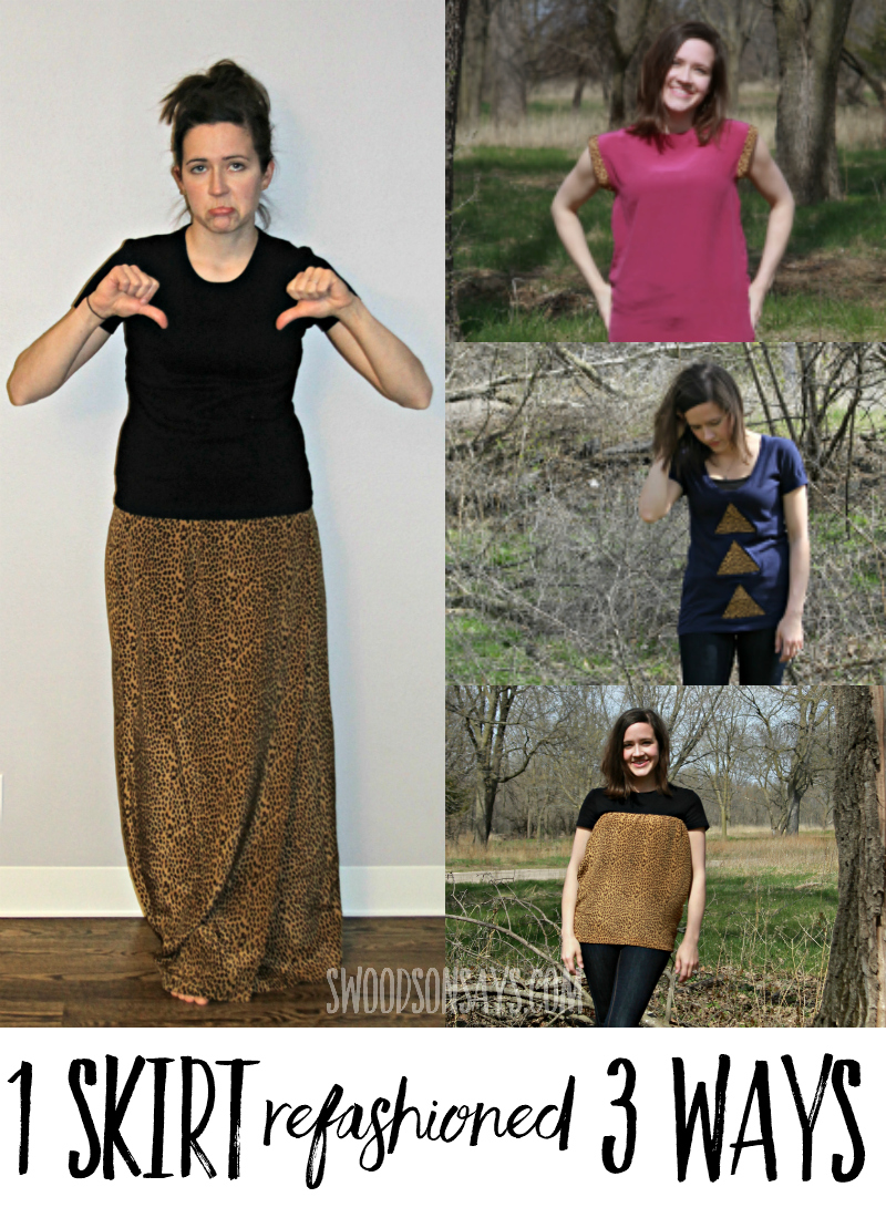 See how this one vintage maxi skirt was refashioned into three different shirts - with photo tutorials for each style. #refashion #sewing #upcycle