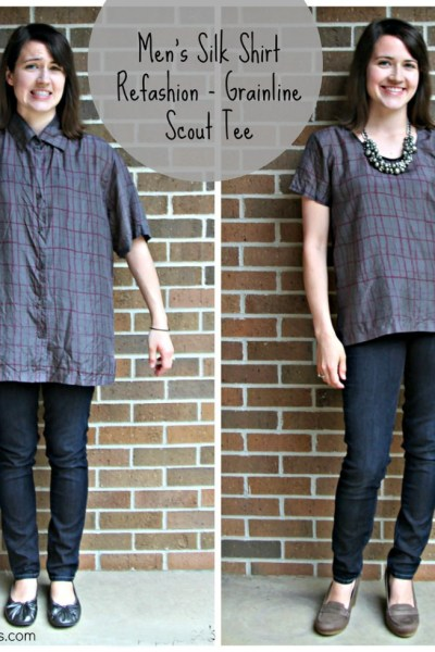 Unique Men's Shirt to women's shirt refashion from Swoodson Says - get inspired for how to turn a baggy mens shirt into a chic women's top! This creative refashion upcycles a button up shirt with a few simple steps. #refashion