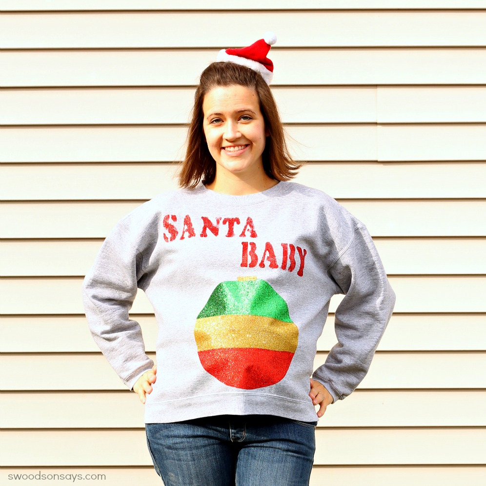 No Sew DIY maternity ugly christmas sweater
