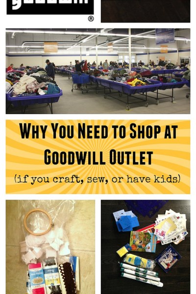Goodwill Outlet is THE BEST for finding cheap sewing and craft supplies. This post shows you what to expect when you go, and some of the stuff you might find! Such great deals!