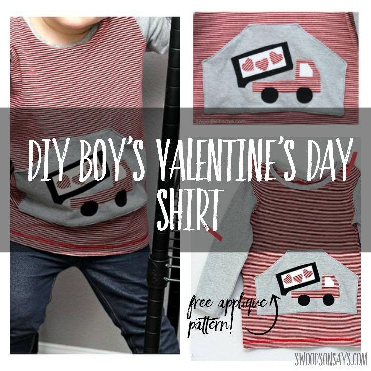 Sew a boys Valentine's Day shirt with this cute heart dump truck! It's all upcycled materials and he loves it.