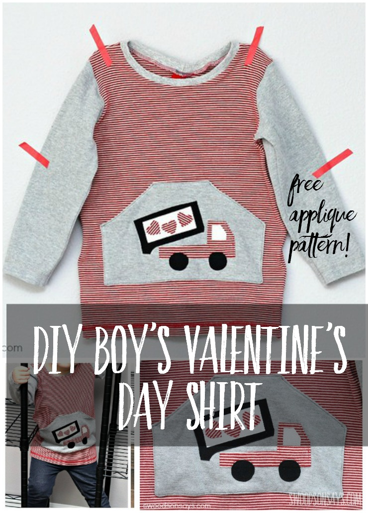 Sew a boys Valentine's Day shirt with this cute heart dumpt truck! It's all upcycled materials and he loves it. Valentine's Day ideas for boys can be hard but this is so fun!