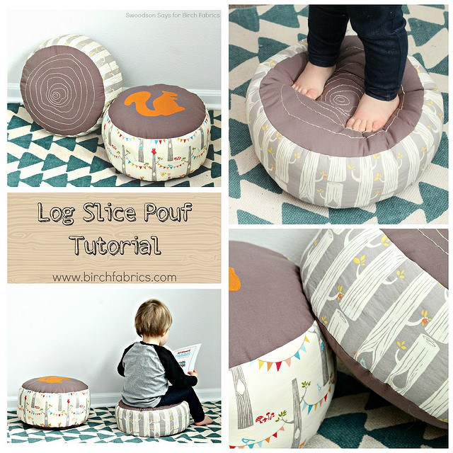 Log Slice Pouf Tutorial for Birch Fabrics - free squirrel applique file & pillow tutorial! Perfect pillow to sew for a kid's reading nook or nursery. Faux bois embroidery is so popular, make some log slice pillows for your play room! #sewingtutorial #embroidery