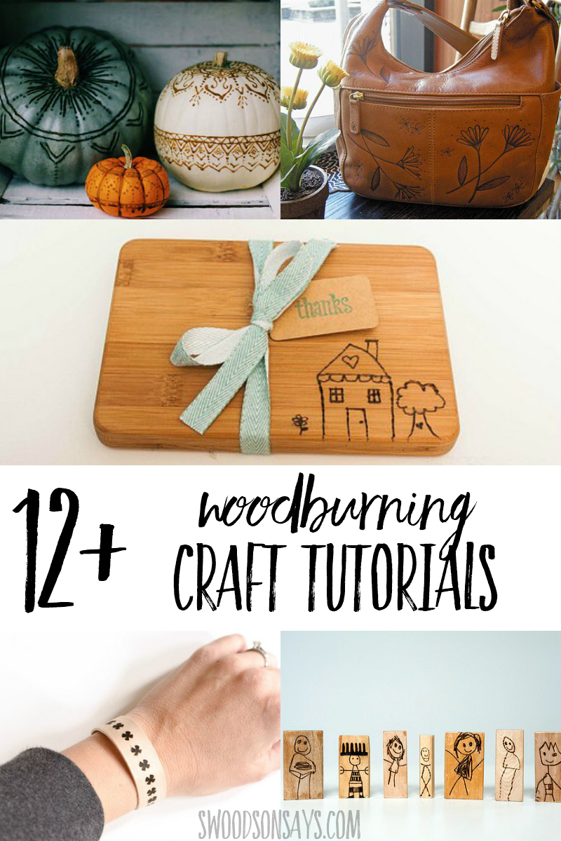 List of woodburning craft tutorials with links, great project ideas for wood burning beginners. #woodburning #crafts #pyrography