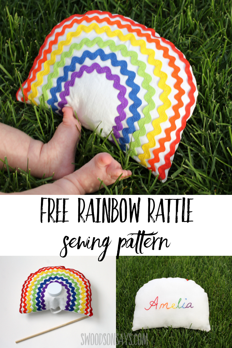 Free Rainbow Rattle Sewing Pattern- one of 20 free baby sewing patterns