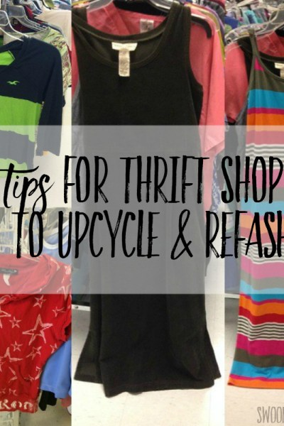 tips for thrift shopping to refashion upcycle