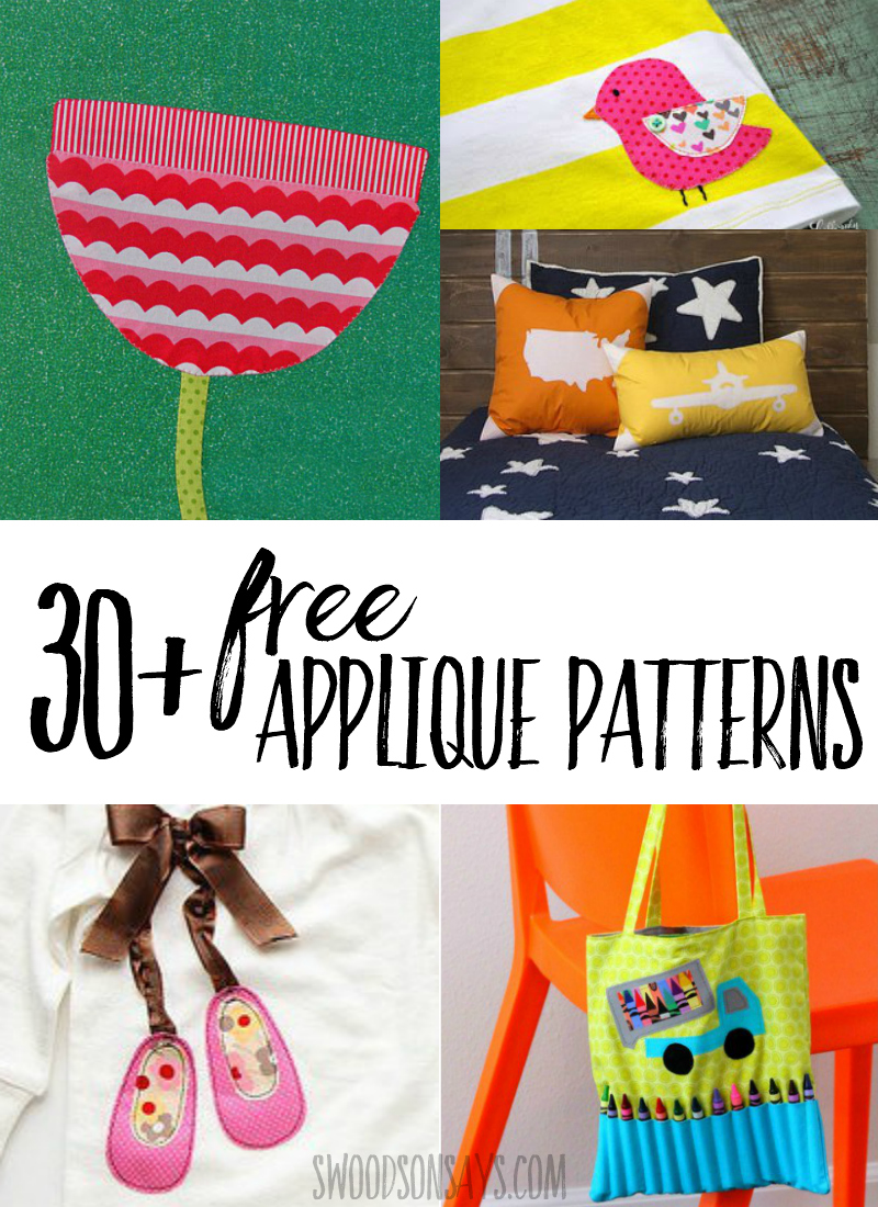 Appliques are a great way to jazz up shirts, pillows, and bags. Check out this list of free applique patterns to use up fabric scraps and personalize your projects! #applique #sewing #freesewingpattern