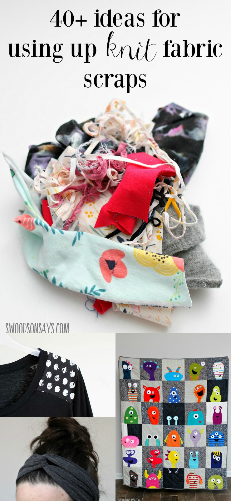 Not sure what to do with knit fabric scraps? Don't throw them away! I have a huge list of ideas for using up knit fabric scraps of all sizes with scrapbuster tutorials and recycling tips.