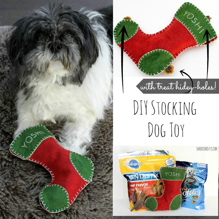 A DIY Christmas Stocking Dog Toy - it has three treat hidey-holes to keep your dog sniffing around for treats and out of the presents! A sponsored post on Swoodsonsays.com - #ad #clausandpaws #collectivebias