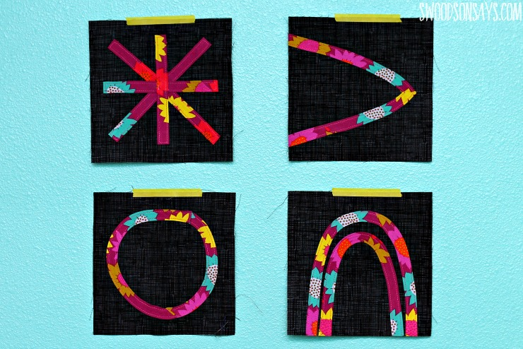 modern bias tape applique quilt block
