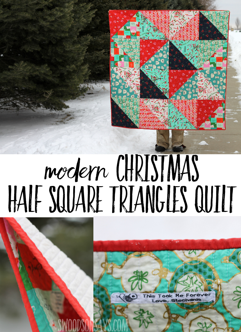 A Christmas HST Quilt with Cotton and Steel Tinsel Fabric. I love half square triangle quilts - this is a pattern from Patchwork Essentials by Jeni Baker. #halfsquaretriangles #hstquilt #quilt #quilting #christmas #christmasquilt #sewing