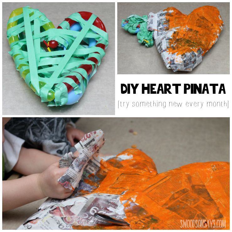 My first attempt at paper mache - making a heart pinata.