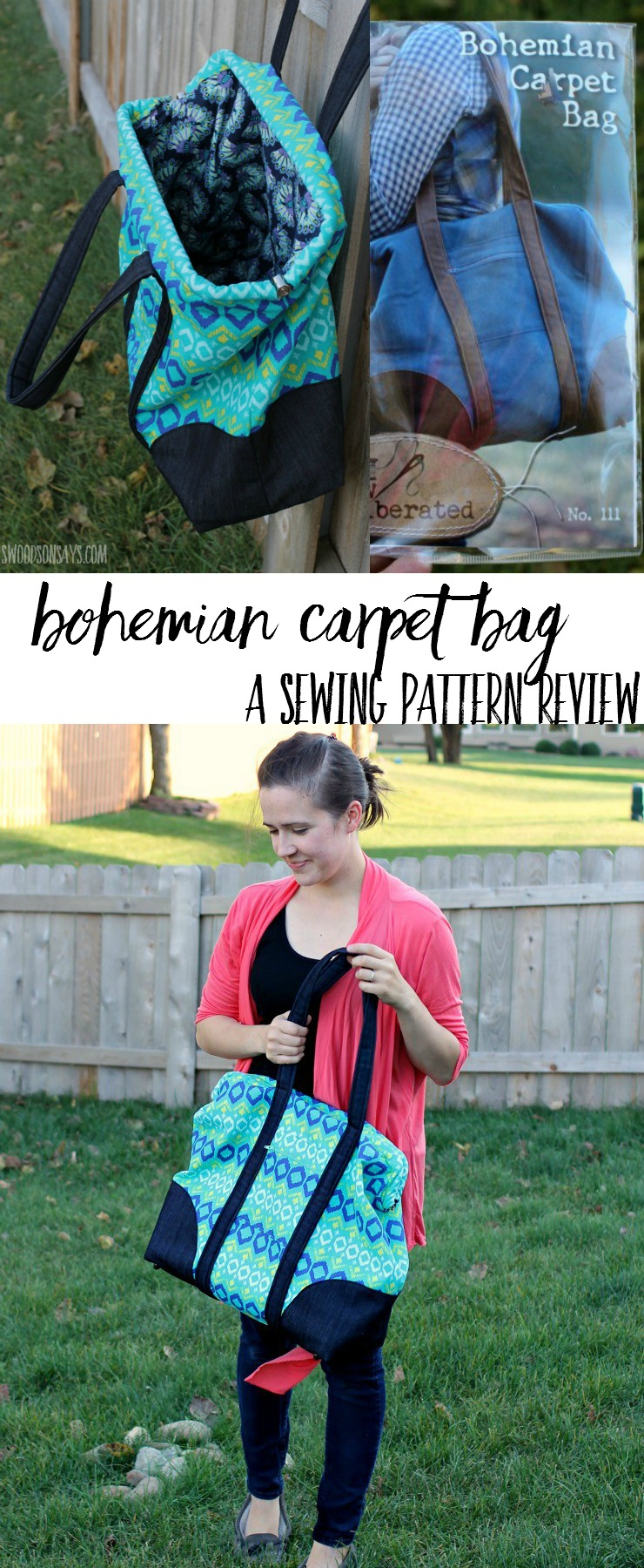 "This is the biggest purse pattern ever! Check out the review for the Sew Liberated Bohemian Carpet Bag - a sewing pattern for a ""mary poppins style"" purse that is perfect for road trips."