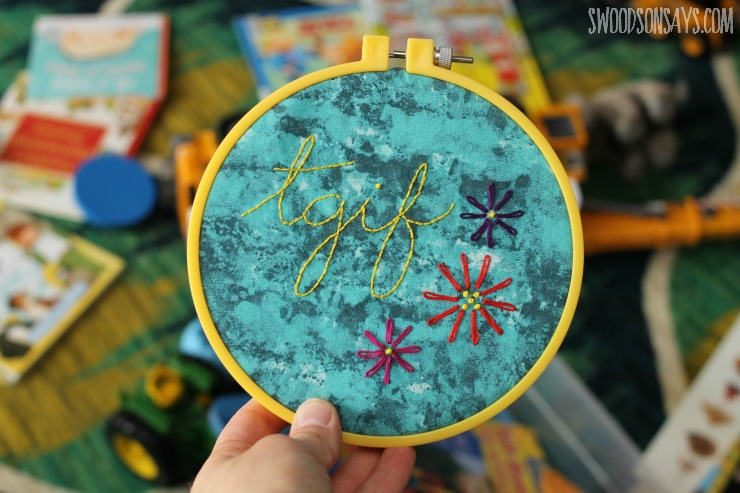TGIF embroidery pattern with lazy daisy flowers