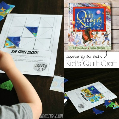 "Make a kid's quilt craft and help your preschooler (or older kid!) practice gluing, pattern making, and creativity! Read ""The Quiltmaker's Gift"" alongside it for a fun morning - the book is all about being selfless, giving, and the magic of sewing!"