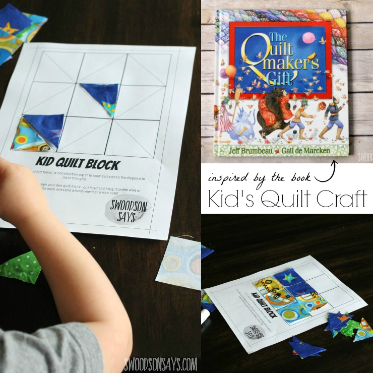 """Make a kid's quilt craft and help your preschooler (or older kid!) practice glueing, pattern making, and creativity! Read """"The Quiltmaker's Gift"""" alongside it for a fun morning - the book is all about being selfless, giving, and the magic of sewing!"""