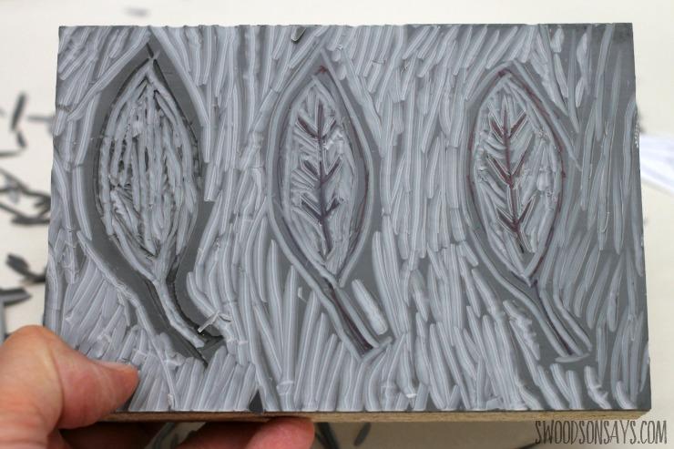 linocut of a wood leaf