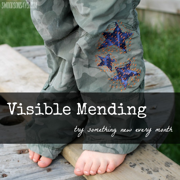 Trying out visible mending - fixing boy's pants with sashiko!