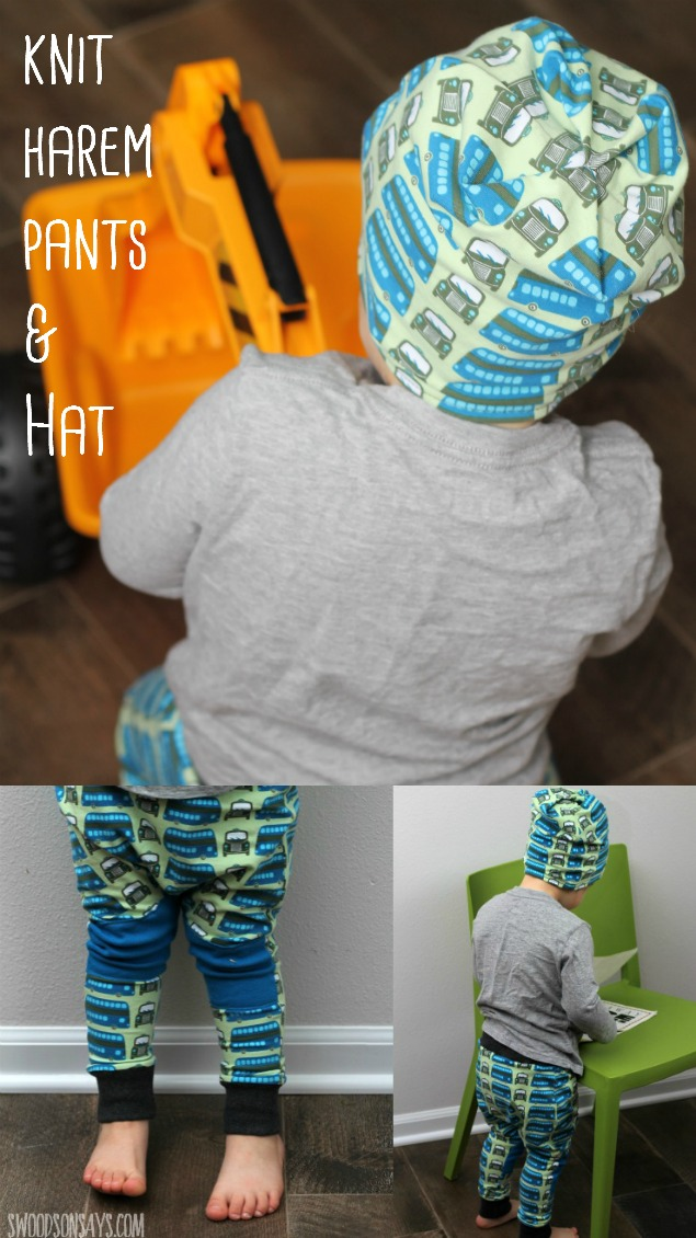 A matching set in euro bus knit, with harem pants and a slouch beanie. I love sewing for boys, and this set is both comfy and cute! Sewn from two PDF patterns for boys.