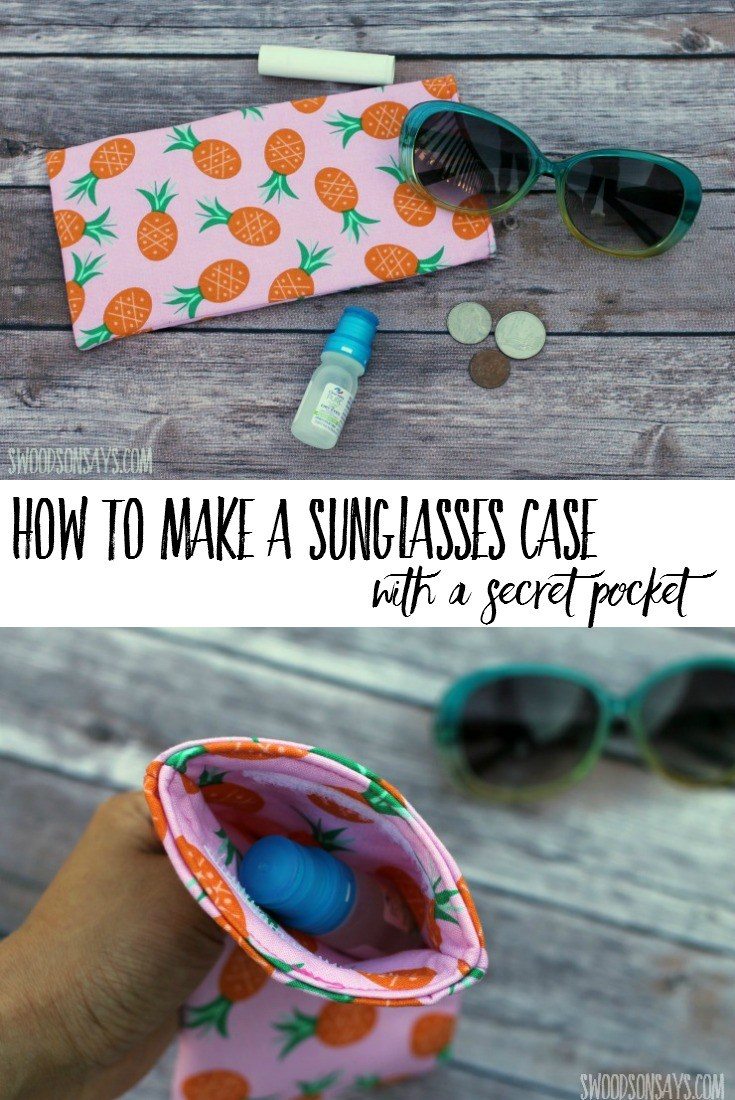 How to sew a sunglasses case with a secret pocket! This is an easy summer sewing tutorial, perfect for hiking. Stash away stuff and keep your sunglasses safe (and easy to find!). #ad #collectivebias #mypurerelief