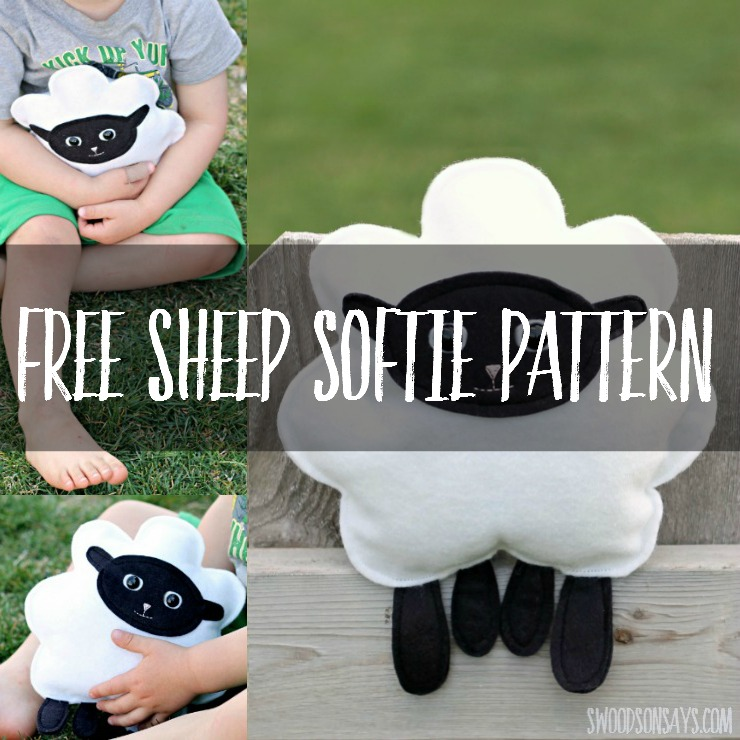 Sew a free sheep softie sewing pattern! This simple softie is easy to sew by hand or machine, and the little legs are perfect for tiny hands to hang on to.