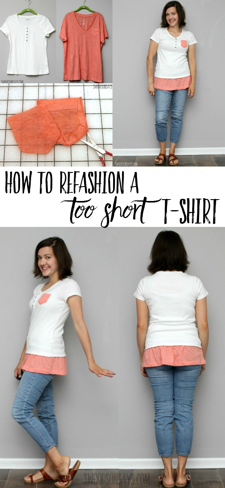 See how to refashion a tshirt that is too short! This easy tshirt refashion idea combines too looks for a fresh new take.