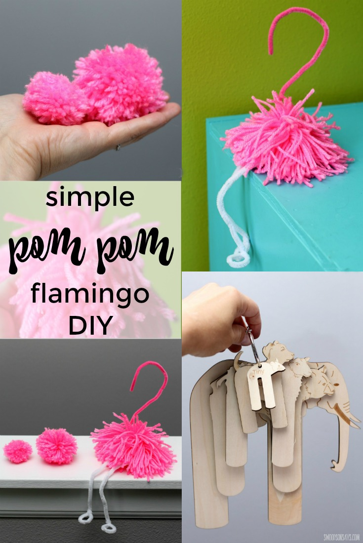 """Pom Pom Experiments - how to make a simple pom pom flamingo with pipe cleaners and yarn. Fun flamingo craft I made as a part of my annual """"try something new every month"""" challenge!"""