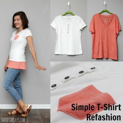 Simple Tshirt Refashion – How To Fix A Short Shirt