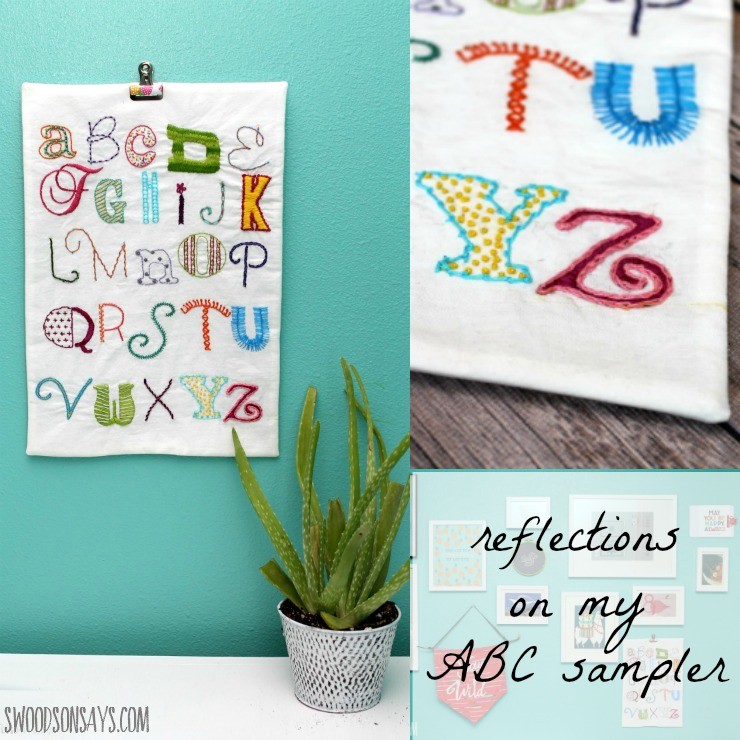 An ABC alphabet embroidery sampler - a long-term project I finally finished, with some reflections on what I learned while making it.