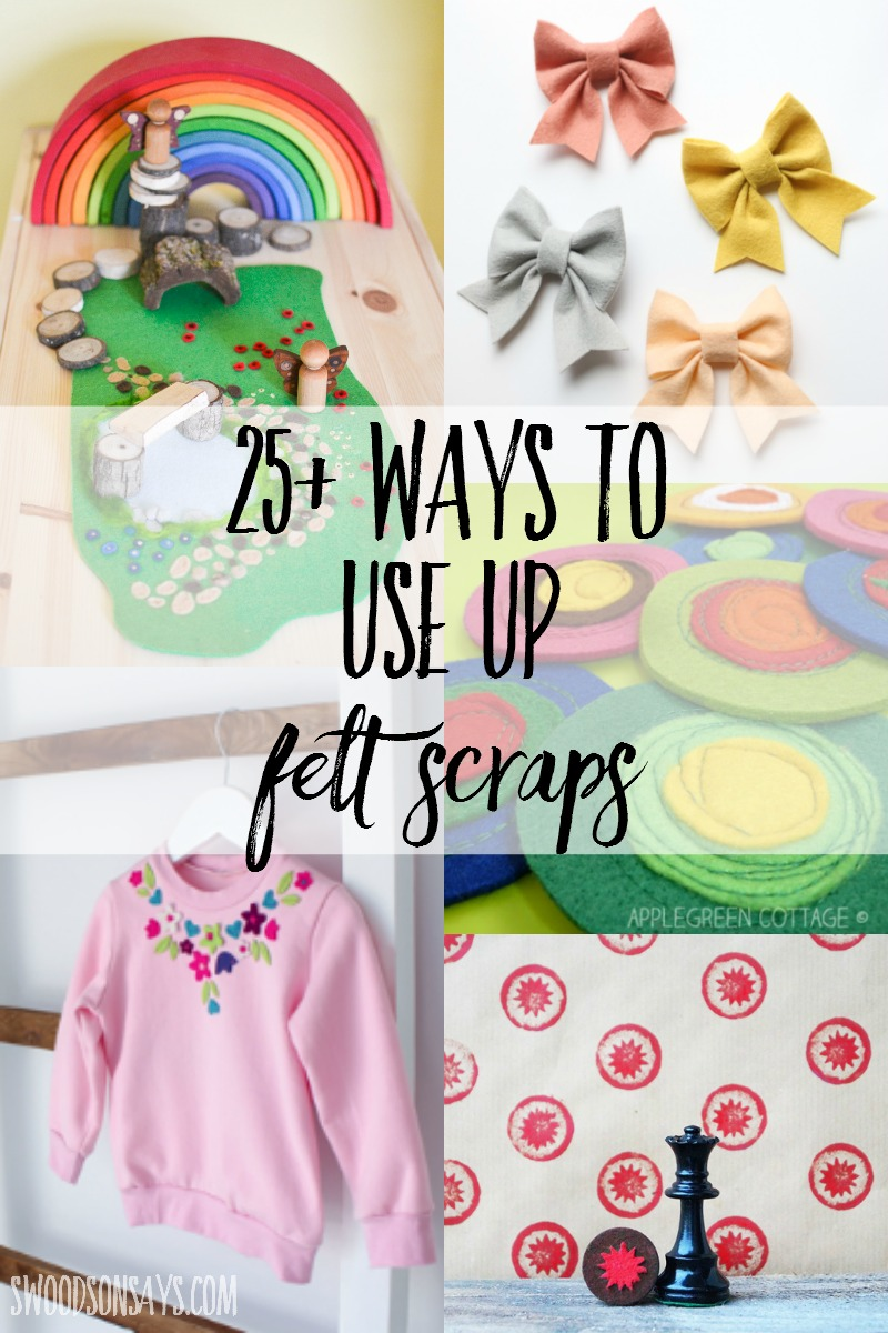 Hate to throw away those beautiful felt bits? Don't! Find 25+ ways to use up felt scraps, with lots of fun no sew felt projects and simple sewing tutorials.
