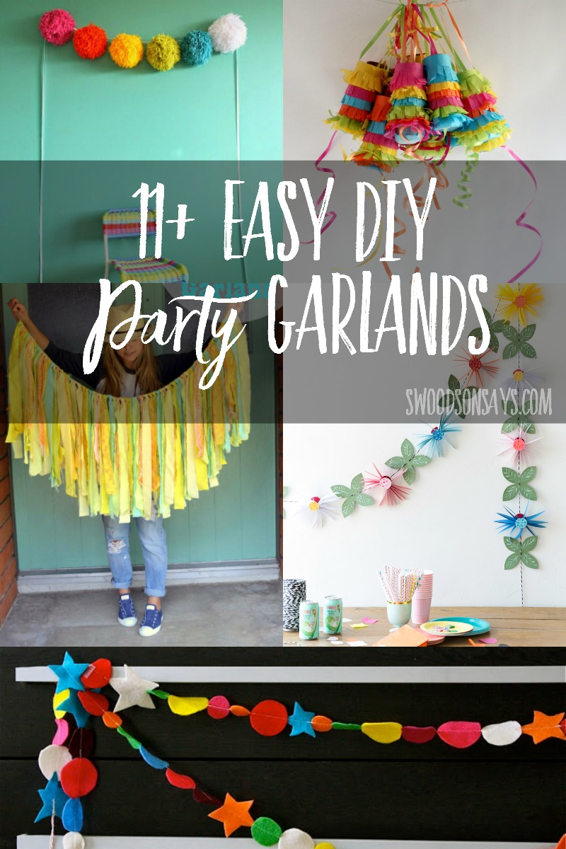 Easy DIY party garland tutorials - these are super fun, inexpensive decorations to make. #crafts #diy #party #garland