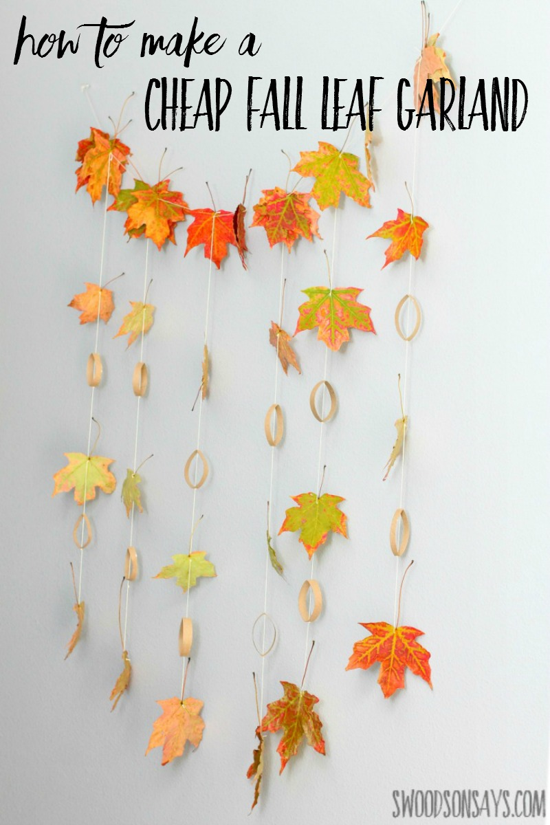 The beauty of this leaf garland is that the kissed by fall fairy leaves are pretty all on their own. In the daytime they look like a standard, leaf garland. In the daytime they look like a standard, leaf garland.