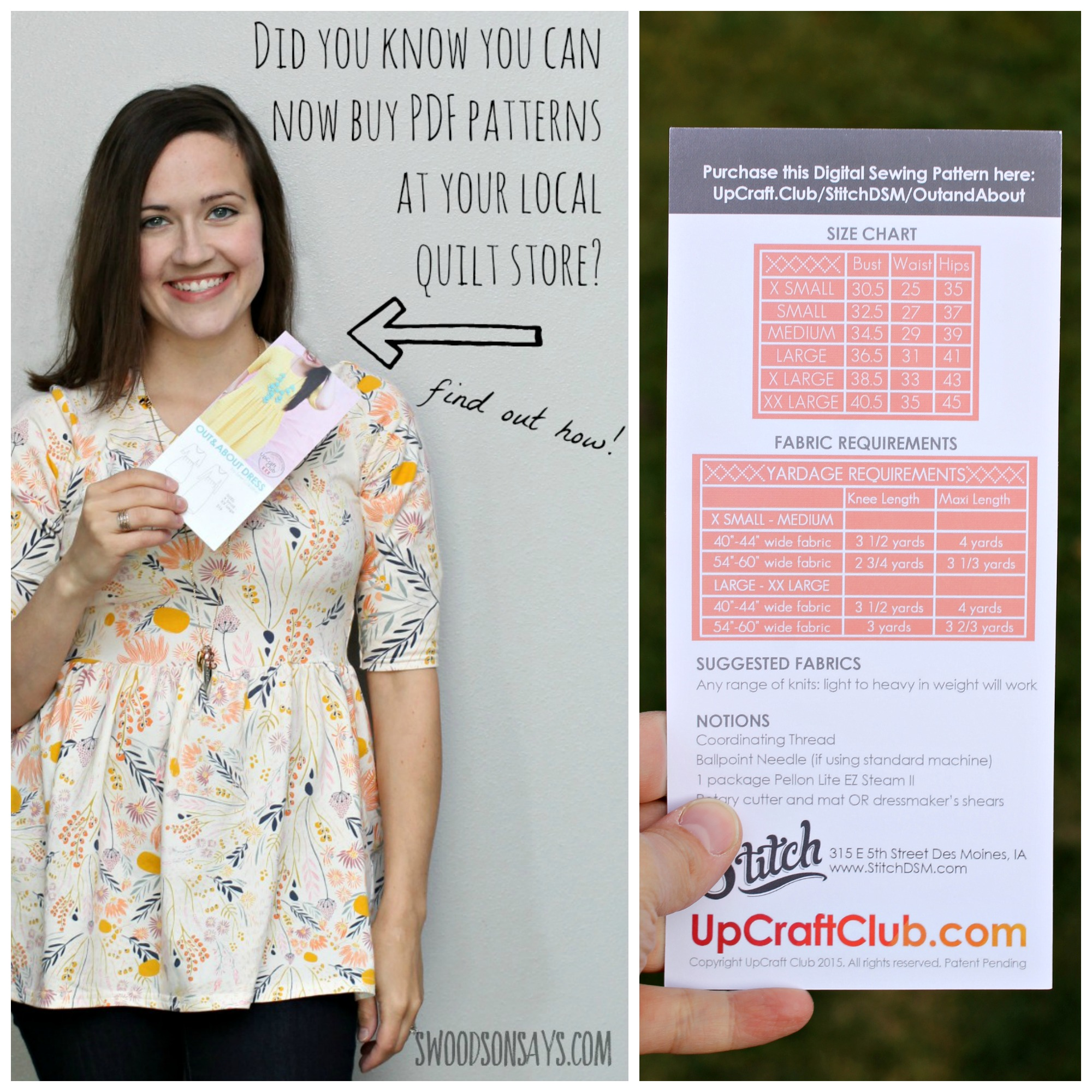 "You can buy PDF patterns at your local quilt shop now, thanks to UpCraft Club! It is so easy, I show you how in this post (and share my cute Sew Caroline Out and About ""Dress""). Sponsored post on Swoodsonsays.com"