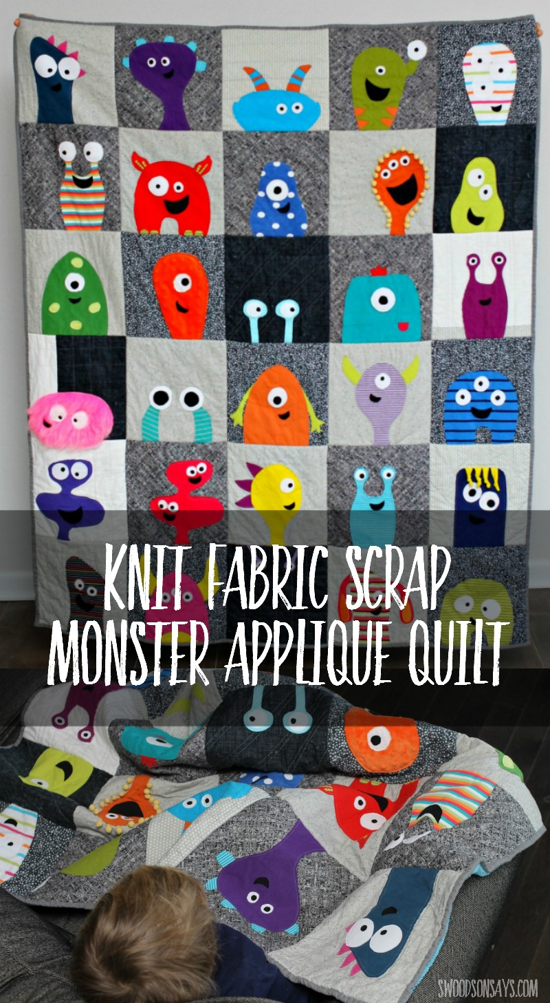 Use up your fabric scraps and make this monster applique quilt! It's easier than it looks, and make a super fun quilt for kids.