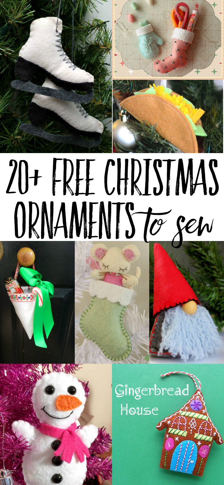 Check out this long list of free felt Christmas ornaments! Free sewing patterns and tutorials make these diy ornaments simple and fun to make, perfect for handmade Christmas gifts. #diyfeltchristmasornament