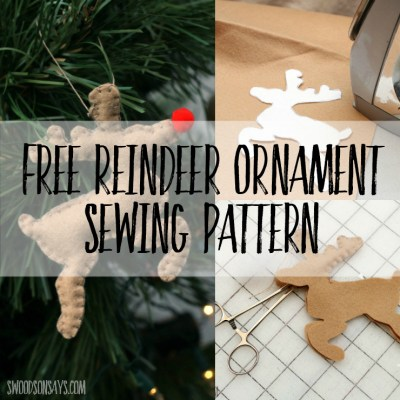 Use this free reindeer ornament sewing pattern to sew up a Rudolph for your tree! #reindeersoftie