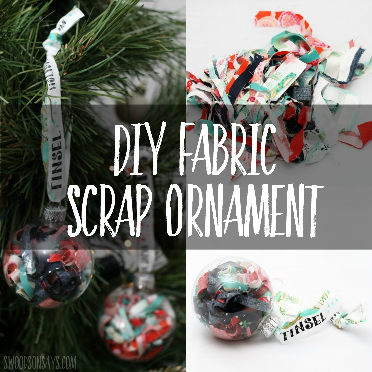 Make a DIY fabric scrap ornament for the fabric lover in your life - fill a simple glass ball with fabric scraps! This is a festive way to display some of your projects from the year, and a cheap DIY Christmas ornament!