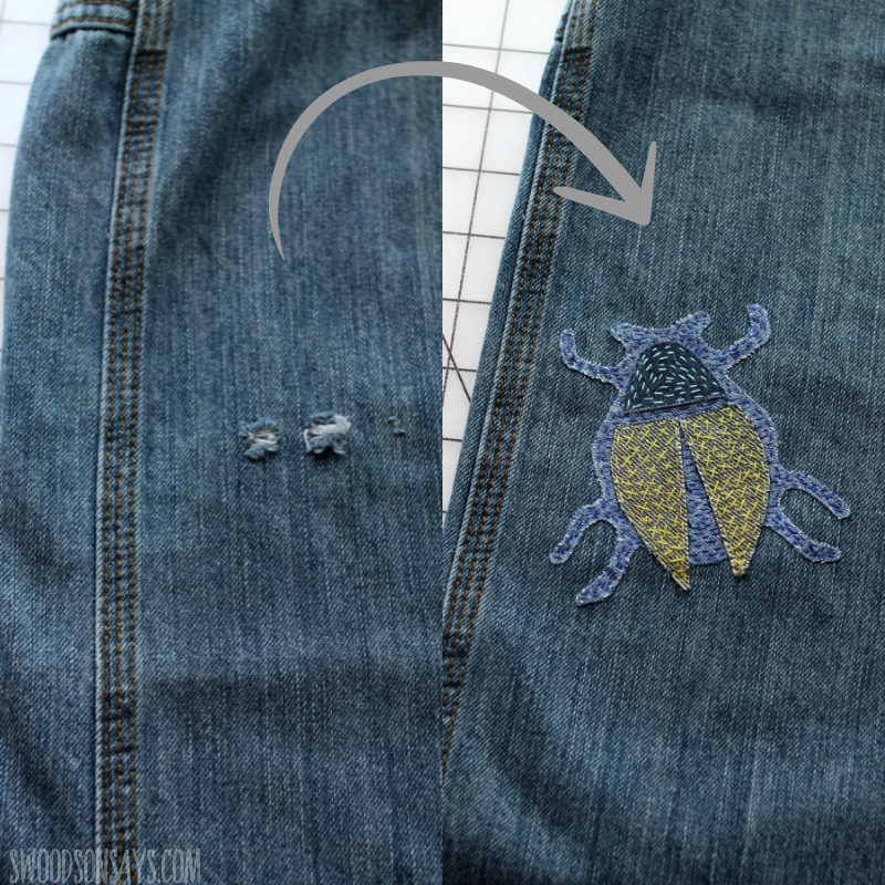 before and after jeans mending