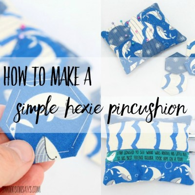 Interested in EPP (english paper piecing) but intimidated by making a whole quilt? With only 17 hexies, make a simple pincushion with this easy pincushion tutorial! This is a great first quilting project and scrap buster tutorial. The post was sponsored by Maker Mountain Fabrics, where you can find this adorable Cotton + Steel Kujira fabric!