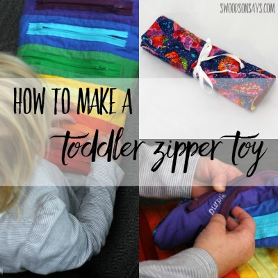 Use this zipper toy tutorial to sew a toddler toy! A few zippers and some embroidered words will make learning colors fun, and it rolls up easily to tuck into a purse or bag for entertainment on the go.