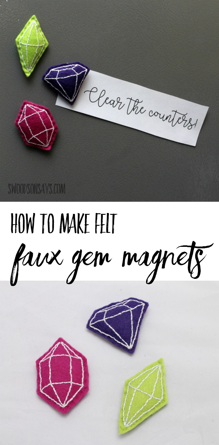 Faux gem magnets will keep your notes and reminders hanging in style! Simple embroidery stitches and felt scraps make this a quick and easy diy gift idea. Free pattern and tutorial in this sponsored post. #ad