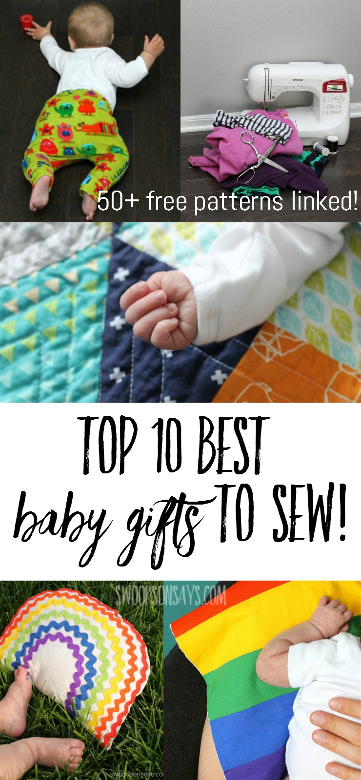 Top 10 best baby gifts to sew! There are 50+ links to free baby sewing patterns and tutorials for the best handmade baby gifts. Pair one with something practical that you loved as a parent for the best baby shower gift idea ever!