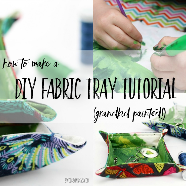 How To Make a Fabric Tray - let your kids join in and paint fabric to make a gift for Mother's Day! Fabric trinket trays are a great beginner sewing project that uses up fabric scraps. #ad #cbias