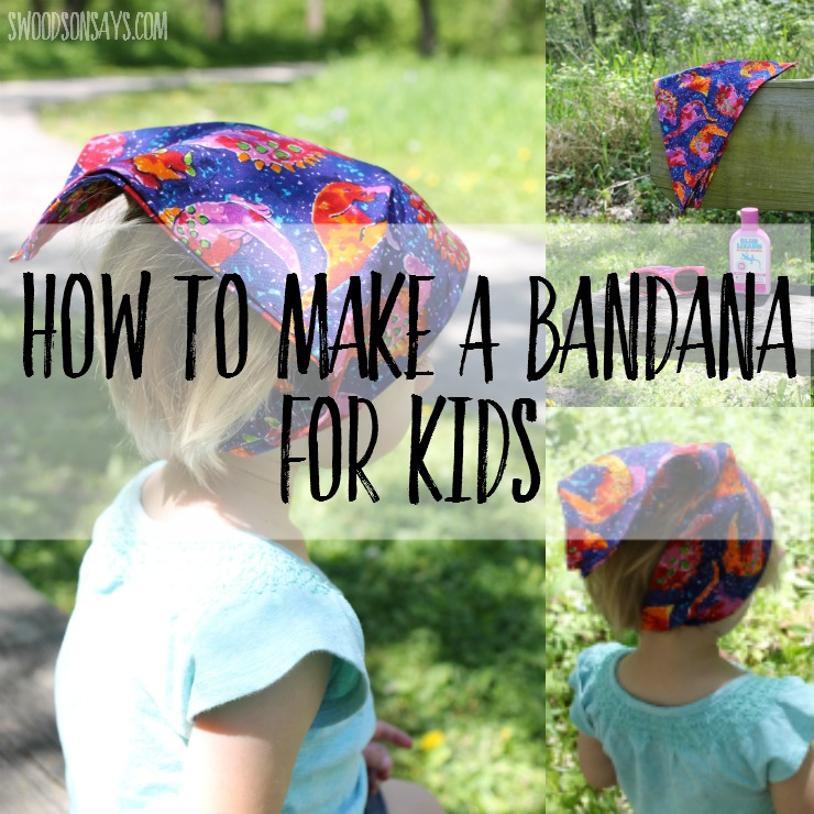Learn how to make a bandana for kids - an easy sewing project for beginners! This bandana is fast and easy to make, and will keep hair and sweat out of happy faces this summer.