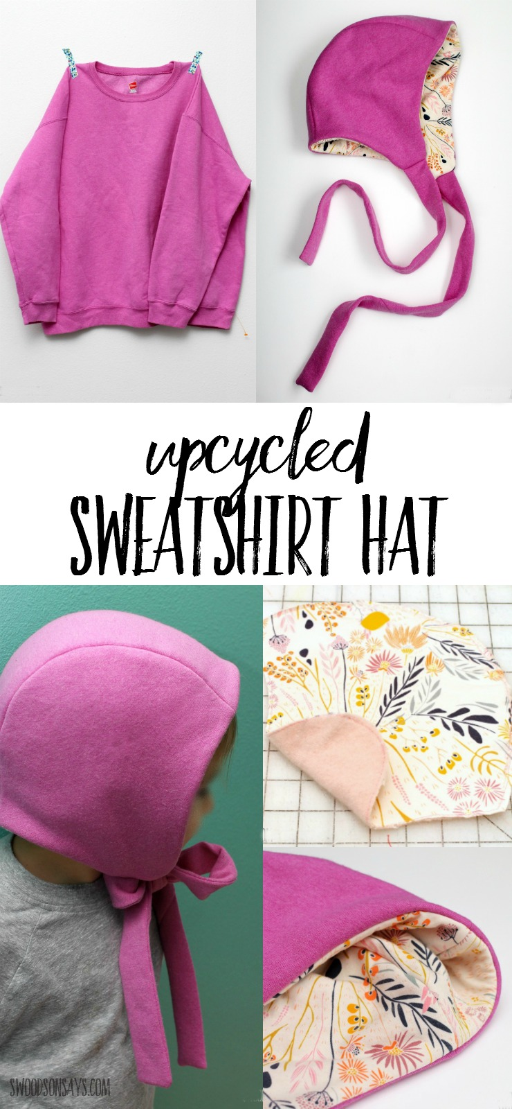 Ideas for sweater upcycling aren't always this cute; see how a frumpy sweatshirt turned into the coziest winter hat ever, with a hidden wool layer! Recycle sweater hats are cozy and cheap to make.